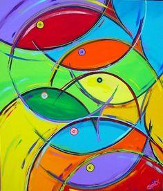 "Painting : ""Go Fish Go #5"" (Original art by Shawn Ardoin)"