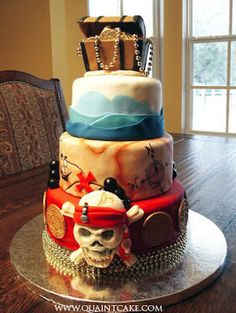 Pirate birthday cake - LOVE esp if we do a Pirate Party next year! Pretty Cakes, Cute Cakes, Beautiful Cakes, Amazing Cakes, Pirate Birthday Cake, Pirate Party, Pirate Cakes, Pirate Theme, Pirate Wedding