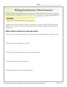 How To Write A Thesis Statement Worksheet Activity Thesis