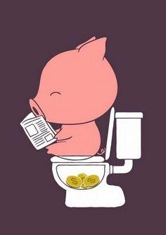 chanchito alcancia en el baño