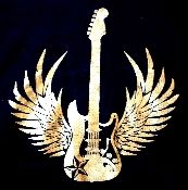 Hoodie with a gold winged guitar emblazoned across the front.