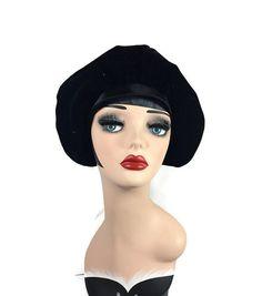 Vintage Black Velvet Hat 1950s 1960s Velvet by BatCityVintage Velvet Hat 9a84ca3b53f3