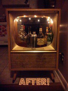 retro tv turned into bar.