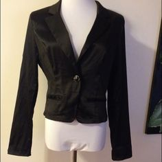 Stretch satin fitted sexy blazer jacket black Size large (juniors) satin jacket in good condition as I only wore it a couple of time. Super cute! I wore it with the sleeves rolled up with a white tank and some skinny jeans. Smoke free home! Ashely  Jackets & Coats Blazers