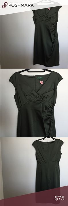Lauren Ralph Lauren tea-length cocktail dress This deep green is a fun yet still conservative alternative to black for your next special occasion; cinched waist and v-neck combined with flattering satin make this dress a sure head-turner. Only worn once. Lauren Ralph Lauren Dresses