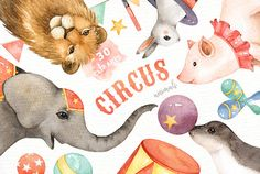 The set of high quality hand painted watercolor circus animals and circus element images. A elephant, lion, sea lion and other animal illustrations are included in this set. Included 2 beautiful pre-made cards. Perfect for wedding invitations, greeting cards, quotes, posters, logo, blogs