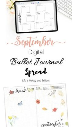 September digital bullet journal on the iPad's GoodNotes app. The theme for this spread is fall. #digitalplanner #bujospread Bullet Journal Prompts, Bullet Journal Contents, Bullet Journal For Beginners, Bullet Journal Font, Bullet Journal Hacks, Bullet Journal Printables, Journal Template, Bullet Journals, Bullet Journal Inspiration