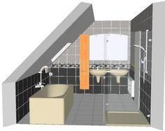 moderne badkamer met schuin dak. bekijk alle voorbeelden van een, Deco ideeën