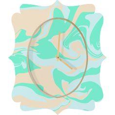 Wesley Bird Hypnotic Camo Seafoam Quatrefoil Clock | DENY Designs Home Accessories
