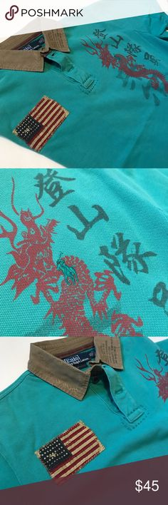 Ralph Lauren dragon polo. Ralph Lauren dragon polo. Collar is army green polo is teal. The polo is missing the second button next to the collar. Polo by Ralph Lauren Shirts Polos
