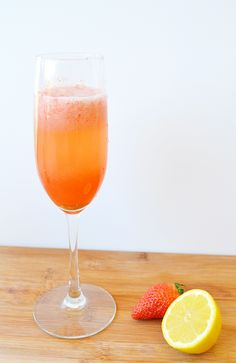 Strawberry Lemonade Mimosa-Great for a Mother's Day Brunch or even a Summer Brunch with girlfriends