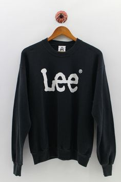 401b126545c5 LEE BIG LOGO Sweatshirt Crewneck Unisex Medium Vintage Lee Spellout Jumper  Lee Rider Pullover Black Swestshirt Unisex Size M