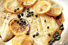 This is one of those recipes you need to have in your repertoire. Yes, it's simple, like so many classic preparations are, but it's our go-to way to prepare delicate fish filets of all kinds. The trick is not overcrowding the pan so be sure to choose a large skillet. If you need to take the lemon slices out all together, that's OK, just toss them back in to heat through just before serving. The salty, tangy caper-butter sauce goes nicely with roasted potatoes and a clean green salad dressed…