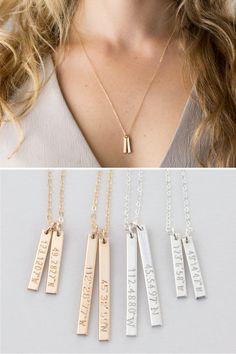 Coordinates Necklace / Customized Dainty Vertical Bar Necklace, 14k Gold Fill, Silver, 14k Rose Gold Fill Necklace Layered and Long LN128 by LayeredAndLong on Etsy https://www.etsy.com/listing/289965285/coordinates-necklace-customized-dainty