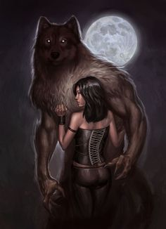 Not your average 'Beauty and the Beast'- or, 'A Lady and her Werewolf' Fantasy, Wolves And Women, Fantasy Art, Vampires And Werewolves, Lycanthrope, Fantasy Creatures, Art, Wolf Art, Werewolf Art