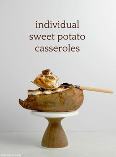 Individual sweet potato casseroles are adorable, easy and so, so different! Wheat Free Baking, Dairy Free Spread, Vegan Side Dishes, Thanksgiving Sides, Sweet Potato Casserole, Yummy Food, Fun Food, Whole 30 Recipes, Casseroles