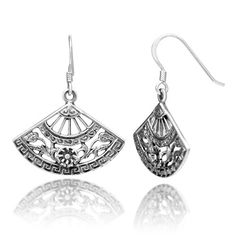 925 Sterling Silver Detailed Filigree Asian Inspired Folding Hand Fan with Flora Dangle Hook Earrings 1.3'' Designer Jewelry for Women - Nickel Free