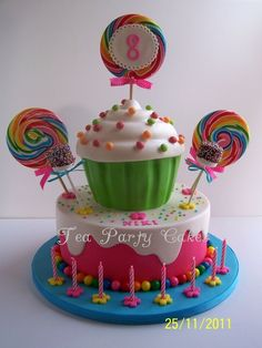 Candy  Cake... Site has a lot of cute cake ideas (Idea for Wreck it Ralph party, Sugar Rush #Venelope)