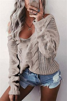 LASPERAL Winter Sexy Deep V-Neck Twist Knitted Sweaters Women Long Sleeve Off Shoulder Sweater Femme 2018 Autumn Outwear Sweater-. Casual Sweaters, Winter Sweaters, Cable Knit Sweaters, Long Sweaters, Sweaters For Women, Loose Sweater, Long Sleeve Sweater, Outfits Damen, Off Shoulder Sweater