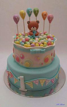 Bear Kids Birthday Cupcakes, Fairy Birthday Cake, 1st Birthday Cake For Girls, Blue Birthday Cakes, Special Birthday Cakes, Birthday Cookies, Bear Birthday, Torta Baby Shower, Baby Shower Cakes For Boys