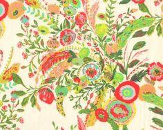 Feiner Baumwolljersey mit Elasthan MILLIE FLEUR, Sommerblumen, limette-pastellrot