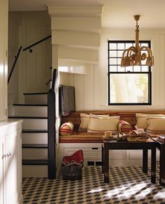 Hideaway stairs and breakfast nook by Steven Gambrel