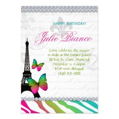 Birthday Party Paris Card Eiffel Tower Butterflies 15% OFF orders today August 4 ends tomorrow.  Click to see details!!