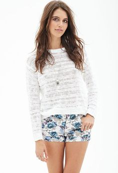 Audition 1 Shorts Painted Floral Denim Shorts | FOREVER21 - 2000120112