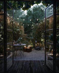 Outdoor Rooms, Outdoor Gardens, Outdoor Living, Backyard Patio, Backyard Landscaping, Dream Garden, Home And Garden, Night Garden, Outside Living