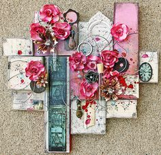 Prima: Mixed Media- made from small jewelry boxes and decorated with scrapbook papers etc.