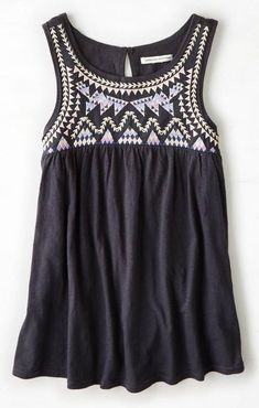 c46b64e2185ab AEO Embroidered Swing Tank Hippy Chic