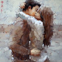 "The Kiss Series #20, Oil, 15"" x 15"" by Andre Kohn"