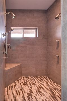 Walk-In Shower in Bathroom Remodel with Two Shower Heads | Hammer & Hand