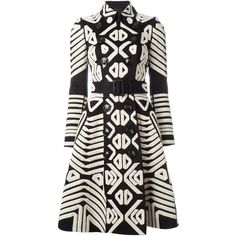 Burberry Prorsum Tribal Appliqué Trench Coat ($1,336) ❤ liked on Polyvore featuring outerwear, coats, jackets, burberry, coats & jackets, black, flare coat, cotton trench coat, flared coat and long sleeve coat
