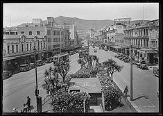 COURTENAY Place - c1930-37, taken from Taranaki Street .. OWR 1 Sep 2016 New Zealand, Sep 2016, Police Vehicles, Street View, Places, Postcards, Lugares, Greeting Card