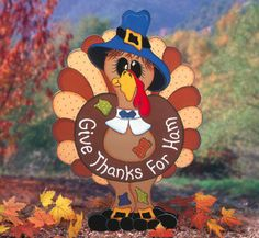 Thankful Thomas Turkey Thanksgiving Wood Outdoor Yard Art Sign