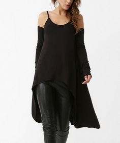 Look what I found on #zulily! Black Spaghetti-Strap Hi-Low Tunic #zulilyfinds