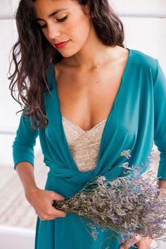 03048d1256 Teal convertible dress turquoise dress 3 4 sleeve dress by mimetik Vestir  De Largo