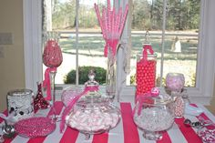 I did pink and white themed candy buffet for girl's 12th birthday party..guests get to fill bag with candy to take home as party favor. (Can do any color table/tablecloth, any color combination of candy, and any size candy buffet.)