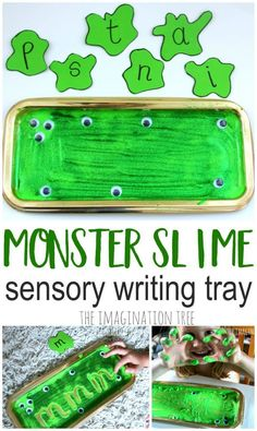 Monster slime sensory writing tray- literacy learning fun for kids Tuff Spot, Eyfs Activities, Jolly Phonics Activities, Maths Eyfs, Tactile Activities, Preschool Phonics, Listening Activities, Spelling Activities, Letter Activities