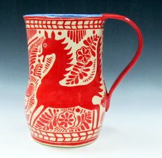 Sgraffito Pitcher RED & WHITE Fantasy Animal Deer Pottery Carved