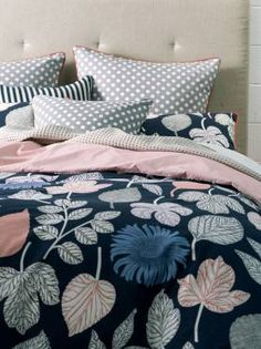 LANIE QUILT COVERS QUEEN NAVY QUILT COVER SETS