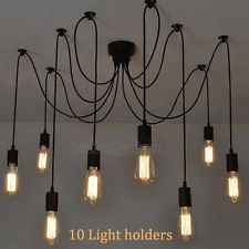 10 Light Contemporary Edison Industrial Chandelier Ceiling Roof Pendant Lamp LED