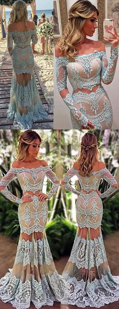 prom dresses,prom dress,Charming Mermaid Off the Shoulder Prom Dress,Long Sleeves Floor-Length Champagne Lace Prom Dress