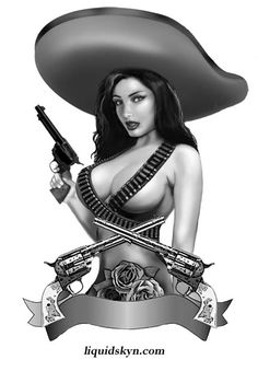 mexican chola pin up | Charra Pin Up Tattoo Design 6