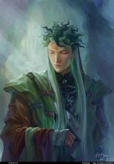 "I started this piece before finishing the last one called ""leaf flute"". It's the same character if you've noticed. He's really impressive for his hair style, and I looooove to paint that. It's just..."