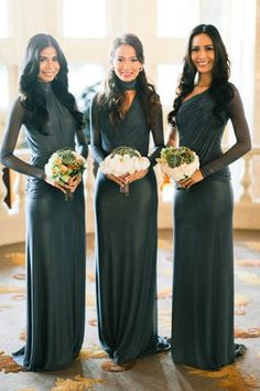 Rissa's bridesmaids in their long-sleeved dresses in platinum gray stretch tulle & metallic jersey