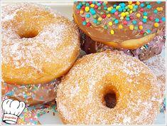 ΠΕΝΤΑΝΟΣΤΙΜΑ ΣΠΙΤΙΚΑ ΝΤΟΝΑΤΣ!!! - Νόστιμες συνταγές της Γωγώς! Doughnut, Donuts, Desserts, Recipes, Food Project, Pizza, Kitchens, Frost Donuts, Tailgate Desserts