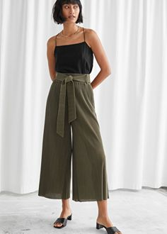 High Waist Tie Belt Trousers - Khaki - High Waisted Trousers - & Other Stories