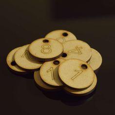 Set of 50x3cm Laser Engraved MDF Number Discs, Table, Tags, Locker, Restaurant,Clubs by LaserVinylArts on Etsy